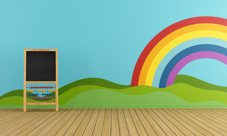 babyroom: Playroom with blackboard, rainbow and green hills on the wall- rendering
