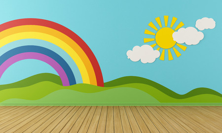 babyroom: Empty Playroom with rainbow,green hills, sun and clouds on the wall- rendering Stock Photo