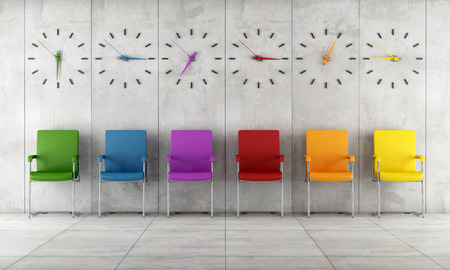 Waiting room with colorful chairs and clocks - rendering Stock Photo