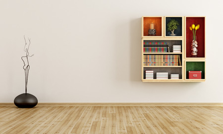 bookshelves: Empty room with bookcase on wall - rendering Stock Photo