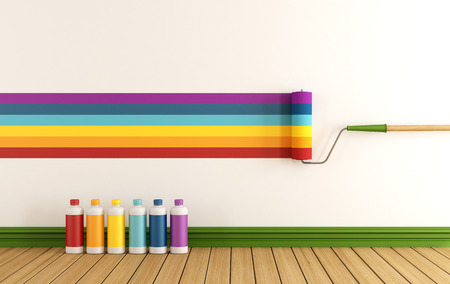 red paint roller: Select color swatch to paint wall in a empty room with samples of colorful paint - rendering