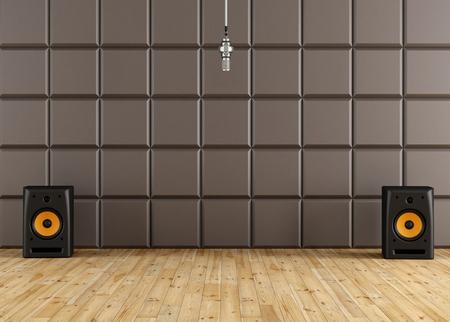 estudio de grabacion: Micr�fono profesional en un estudio de grabaci�n con el altavoz de panel ac�stico de color marr�n y piso de madera - representaci�n Foto de archivo