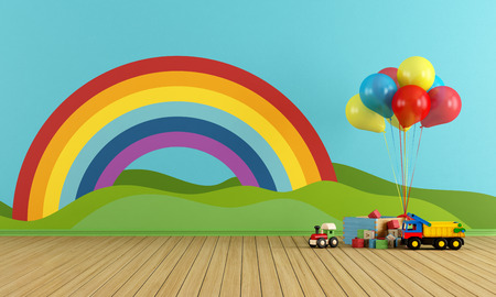 babyroom: Empty Playroom with toys, rainbow,green hills, sun and clouds on the wall- rendering Stock Photo