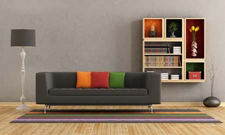 Living room with colorful sofa and bookcase on wall - rendering photo
