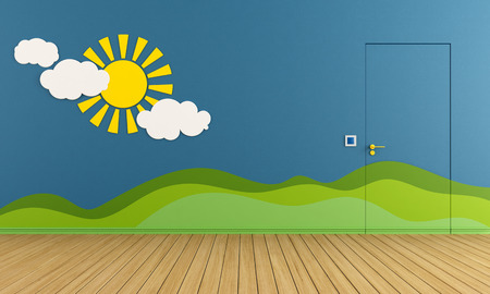 Blue playroom with closed door, sun and hill on wall - rendering photo