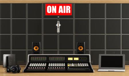 Professional recording studio with audio mixer,microphone,headphone and laptop - rendering photo
