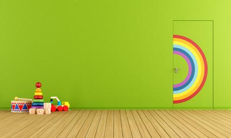 Bunte Türen bündig mit der Wand in einem Spielzeug-Zimmer