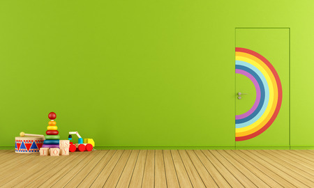 Colorful doors flush with the wall in a toys room photo