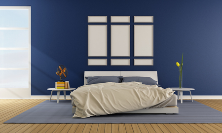 Contemporary blue bedroom with double bed - rendering photo