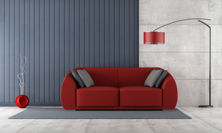 red sofa: Contemporary living room with red couch against blue slats and concrete panel - rendering