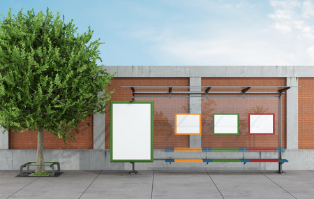 Bus stop in a urban street with blank  billboards - rendering photo