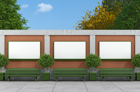 Blank street billboard on brick and concrete wall with green benches - rendering  photo