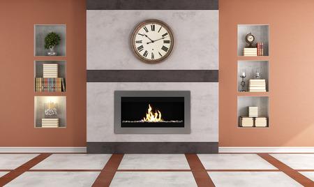 chemin�e gaz: Chemin�e contemporaine de gaz dans une chambre classique - rendu Banque d'images