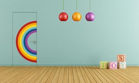 Barevné dveře do roviny se stěnou v modré místnosti plné hraček