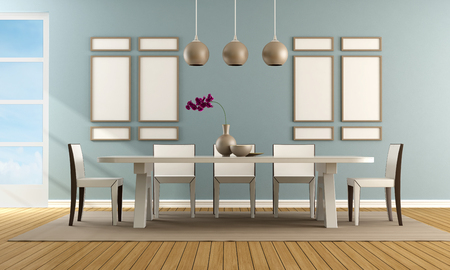 Contemporary blue dining room with white modern chair and table - rendering Stock Photo - 27361568