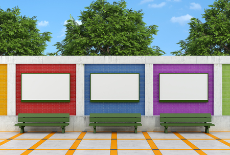 Blank street billboard on colorful brick wall with green benches - rendering  photo