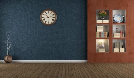 Blau und orange vintage Innenraum mit Nische - Rendering