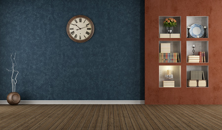 clock: Blue and orange vintage interior with niche - rendering Stock Photo
