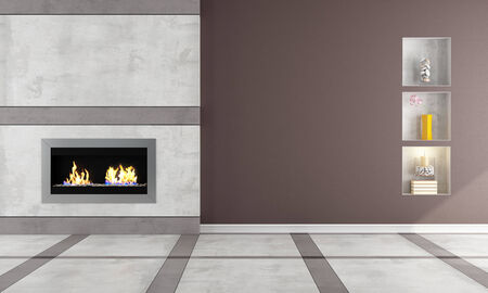 Contemporary  gas fireplace in a classic room - rendering Stock Photo