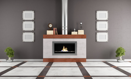 Contemporary  gas fireplace in a elegant room - rendering