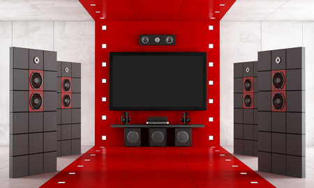 home theatre: Red and black luxury home cinema - rendering Stock Photo
