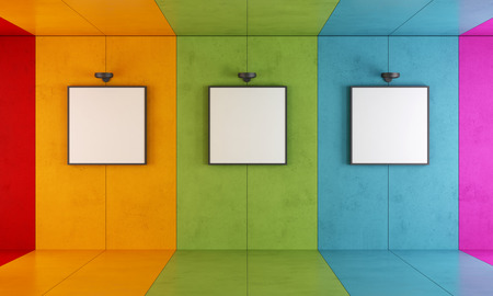 Colorful modern art gallery with floor and concrete walls
