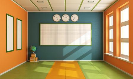 Kleurrijke klaslokaal zonder student met boord, boeken en bol - rendering