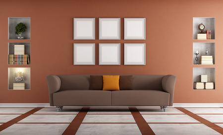 niche: Modern sofa in a elegant interior with niche - rendering