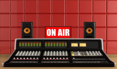 Professional recording studio with audio mixer - rendering photo