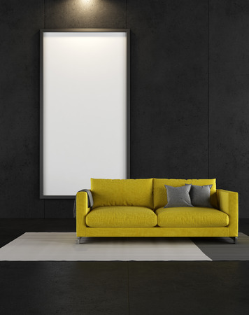 vertical: Sitio negro con sof� amarillo y marco en blanco - de representaci�n- Foto de archivo