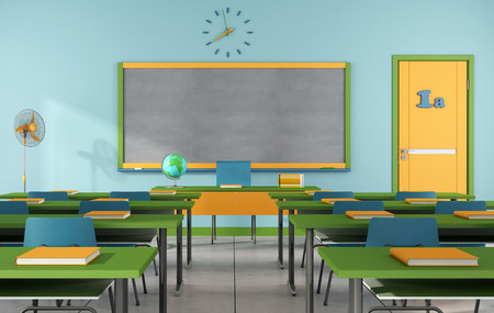 Colorful classroom without student - rendering