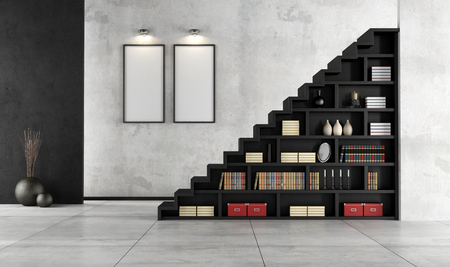 staircase: Minimalist Living room with a wooden staircase and bookcase - rendering