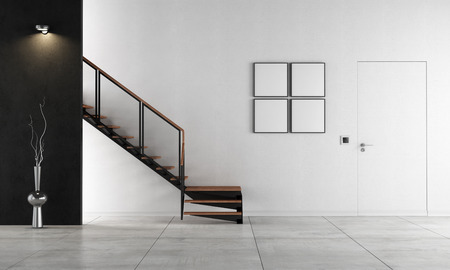 minimalist interior: Black and white living room with staircase - rendering