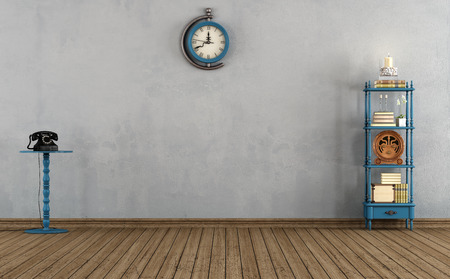 grunge room: Empty vintage room with little bookshelves,clock and old telephone - rendering