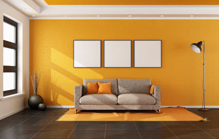 Modern living room with orange wall and couch on carpet - rendering