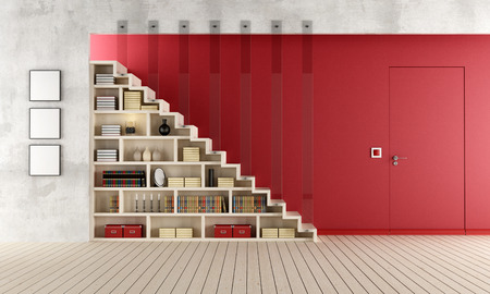 concrete room: Living room with a staircase, bookcase and door flush with the wall - rendering