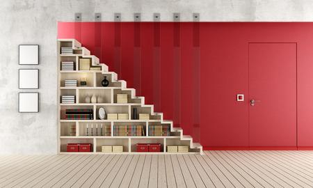 Woonkamer met een trap, boekenkast en deur gelijk met de muur - rendering
