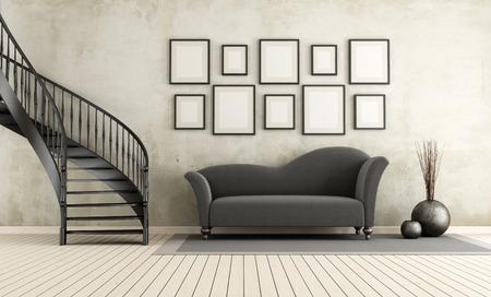 Klassisches Wohnzimmer mit Wendeltreppe und eleganten Sofa - Rendering Standard-Bild