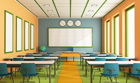 board room: Contemporary classroom with colorful wall and floor without student - rendering