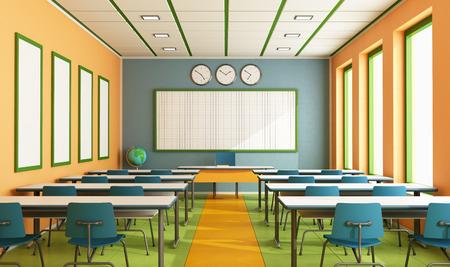 Hedendaagse klaslokaal met kleurrijke wand en vloer zonder student - rendering Stockfoto