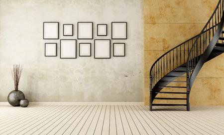 Siyah dairesel merdiven ile Vintage odası - render