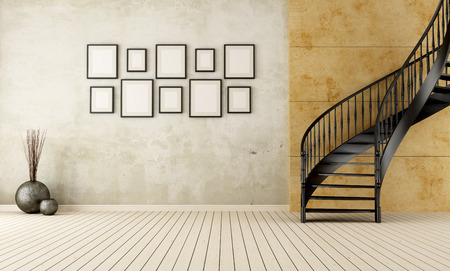 Vintage room with black circular staircase - rendering photo