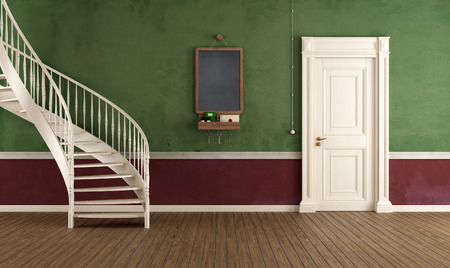 Vintage home entrance with circular staircase and closed door - rendering photo