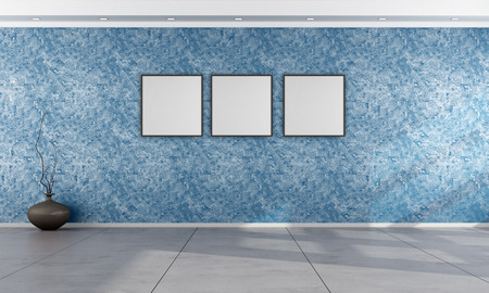 vase plaster: Living room with Venetian plaster wall in blue - rendering