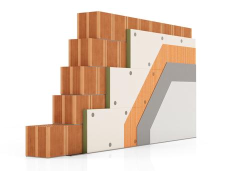 Деталь Теплоизоляция кирпичной стеной с полиуретановыми панелями на белом фоне - оказание Фото со стока