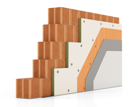 polyurethane: Detail of Thermal insulation of a brick wall with  polyurethane panels on a white background - rendering