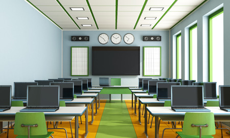 Multimedia classroom with computers, screen and speakers