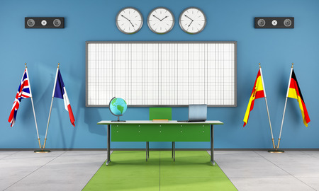 Classroom of a language school with teacher s desk and flags - rendering photo