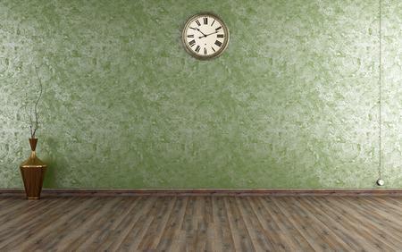 ビンテージ グリーン - ベネチアン漆喰壁部屋のレンダリング