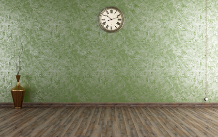 Vintage room with Venetian plaster wall in green - rendering
